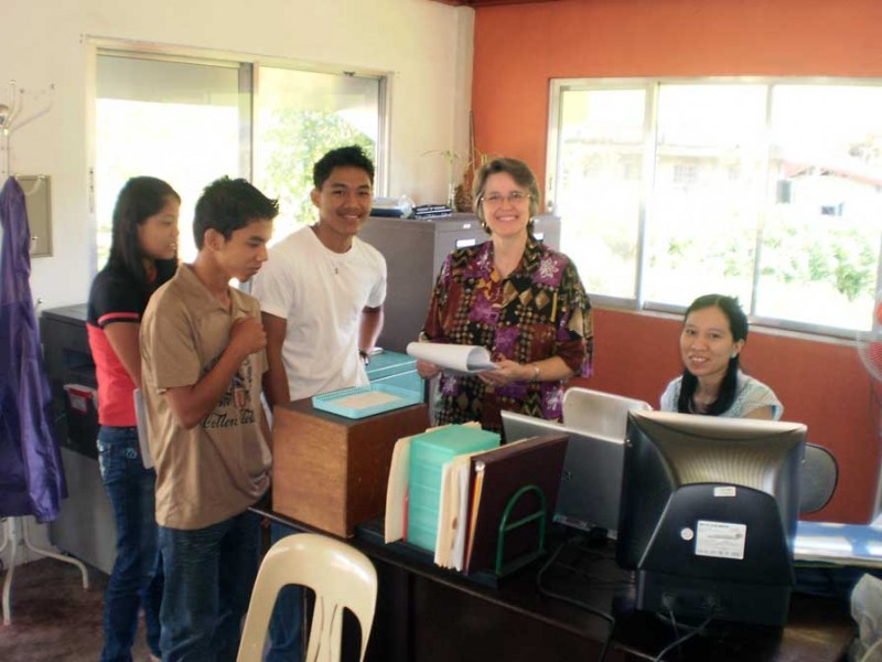 Students at the Registrar's Desk